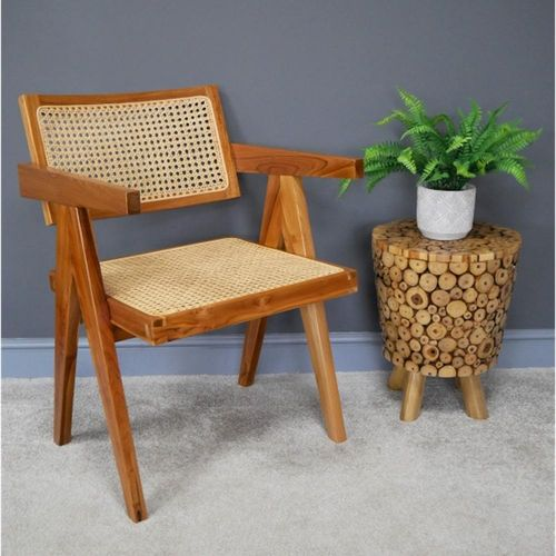 Retro Teak Wood Rattan Chair